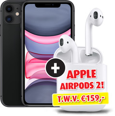 Apple iPhone 11 64GB zwart met Apple AirPods 2 en Oplaadcase
